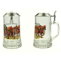Пивная коллекционная кружка с крышкой «На лошадях»