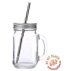 Прозрачная кружка-банка с трубочкой для напитков