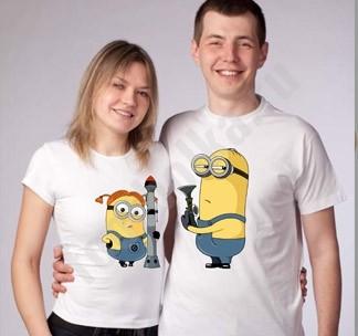 Парные футболки с Миньонами Пистолеты