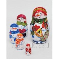 Матрешка Снеговик из пяти фигурок