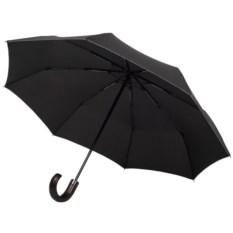 Черный зонт Wood classic с изогнутой ручкой