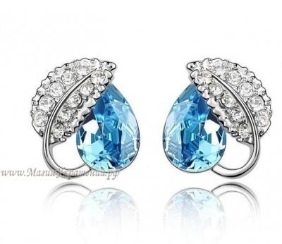 Серьги Листик с голубыми кристаллами Сваровски