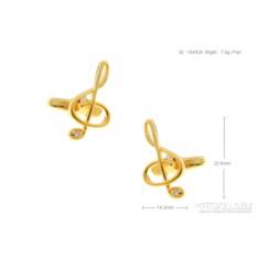 Запонки Скрипичный ключ в именной коробке с гравировкой