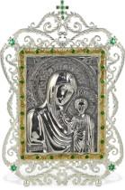 Серебряная икона с образом Казанской Божьей матери