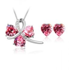 Комплект с розовыми сердечками Сваровски «История любви»