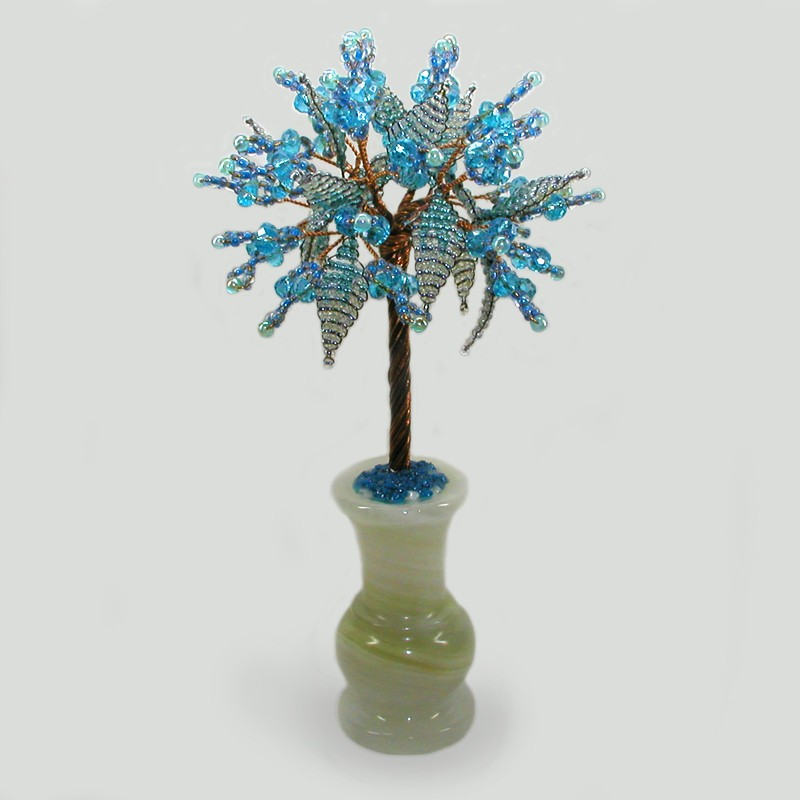 Дерево из топаза Семейное счастье в вазочке из оникса
