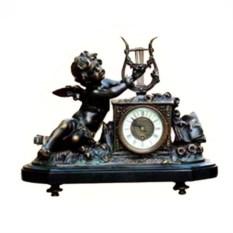 Каминные часы под бронзу Ангелочек и лира