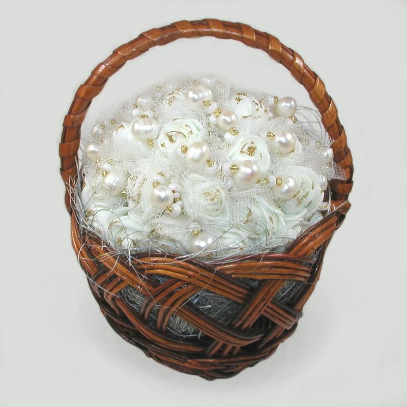 Корзинка цветов с жемчугом Очарование