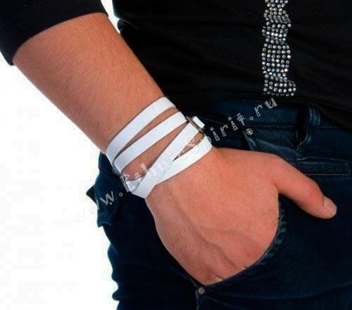 Элегантный кожаный белый браслет-ремень