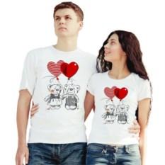 Белые парные футболки Влюбленные мишки