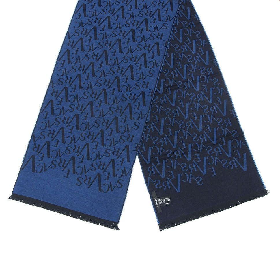 Двухсторонний шарф в синих тонах с буквами Versace