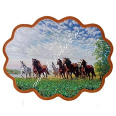 Панно из каменной крошки Побег лошадей