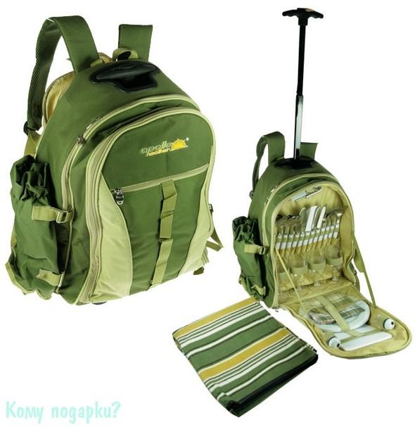 Набор для пикника в зеленой сумке-рюкзаке
