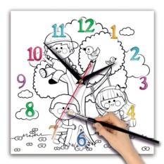 Детские часы-раскраска Дети на качелях
