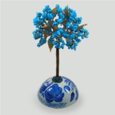 Дерево из бирюзы на гжельской росписи