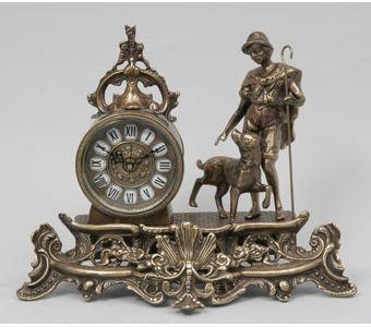 Часы-фигура из бронзы Virtus Пастух с собакой