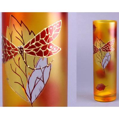Ваза «Стрекоза на листе» цилиндр