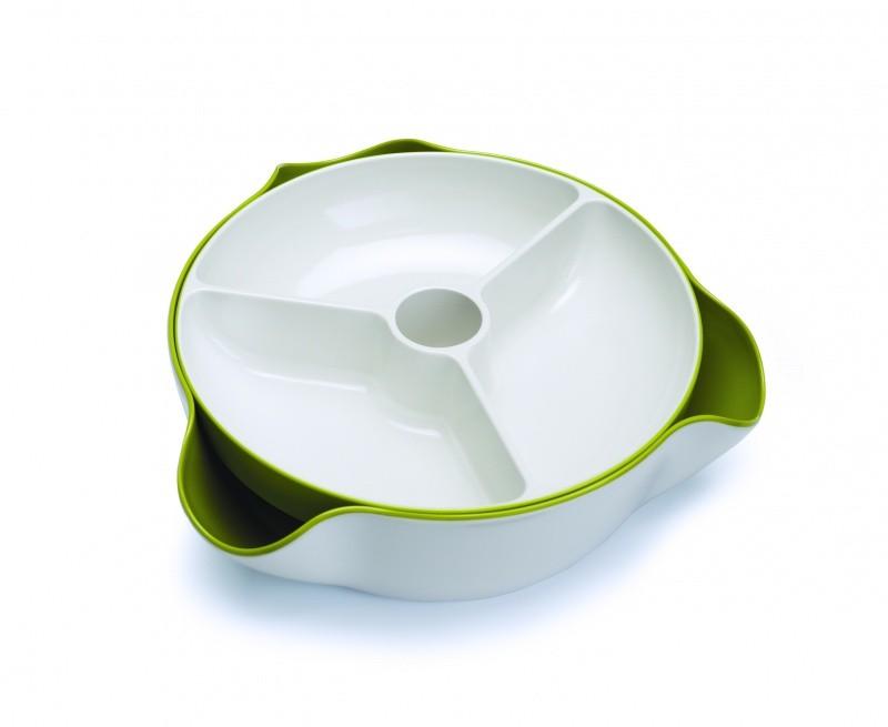 Блюдо для снека Double Dish™, большое, белое/зеленое