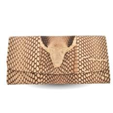 Женский кошелек с настоящей головой кобры натурального цвета