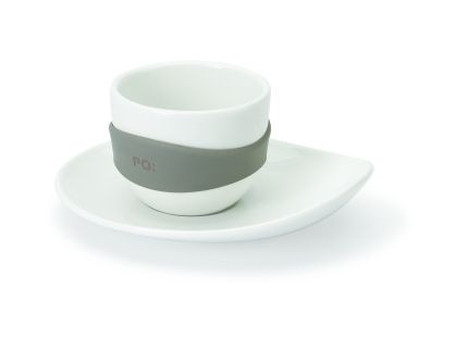Набор из 4-х чашек для эспрессо Leaf, белый с серым