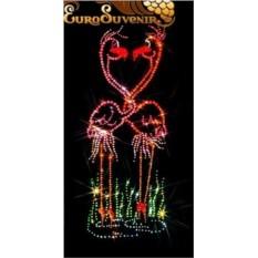 Картина Swarovski Танец влюбленных фламинго, 915 кристаллов, 20х40 см