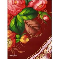 Круглый поднос с росписью Цветы на бордовом фоне (Жостово)