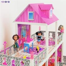 Трехэтажный кукольный дом с 7 комнатами
