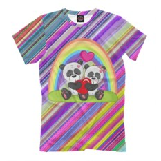 Мужская футболка Влюбленные панды