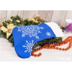 Носок для подарков Снежинки (цвет — синий)