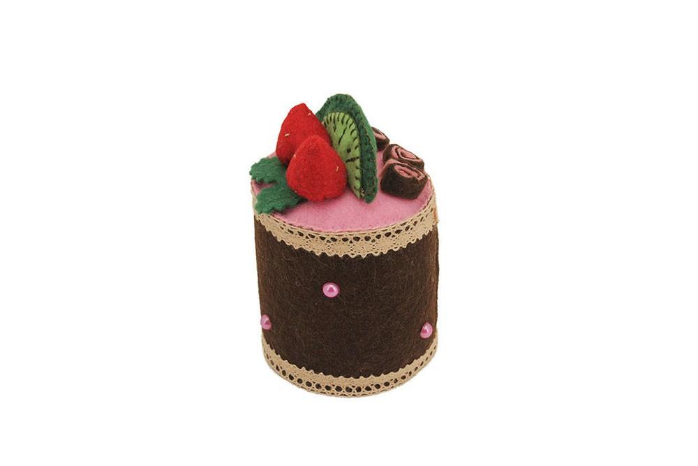 Пирожное из фетра «Клубника с лаймом»