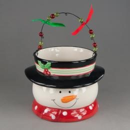 Новогодняя конфетница Снеговик