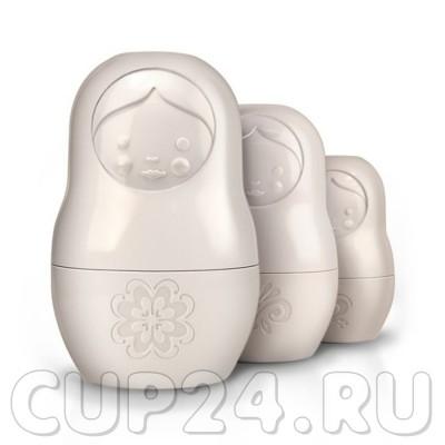 Мерные чаши Матрешки (белые, набор 3 шт.)
