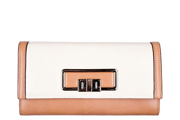 Бело-коричневый кожаный женский кошелёк Leo Ventoni