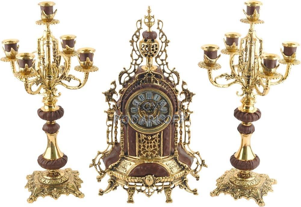 Композиция: настольные часы, 2 подсвечника