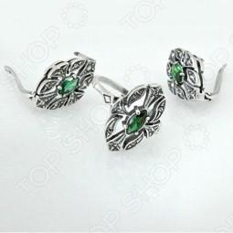 Серьги и кольцо JENAVI «Маркиза» с зеленым кристаллом
