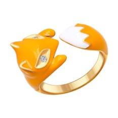 Женское кольцо Лисичка с желтой эмалью фианитами Sokolov