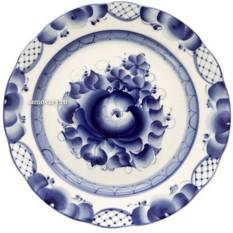 Керамическая десертная тарелка с росписью Гжель