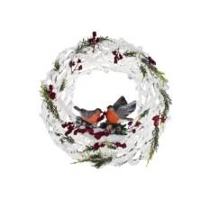 Декоративное украшение для интерьера Снегири на венке