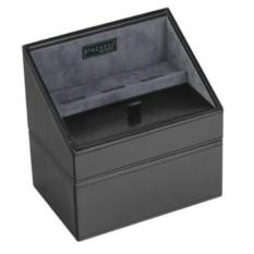 Черная шкатулка для драгоценностей из экокожи