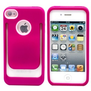 Чехол-клипер для iPhone 4/4S (ярко-розовый)