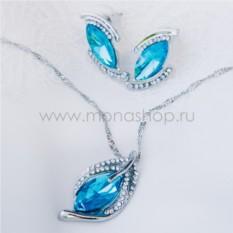 Комплект «Перо Жар-птицы» с голубыми камнями Swarovski