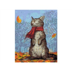 Картины по номерам «Кот в шарфе»