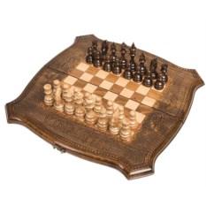 Резные шашки, шахматы и нарды 3 в 1