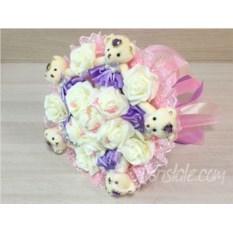 Букет с мягкими мишками и розами Нежность