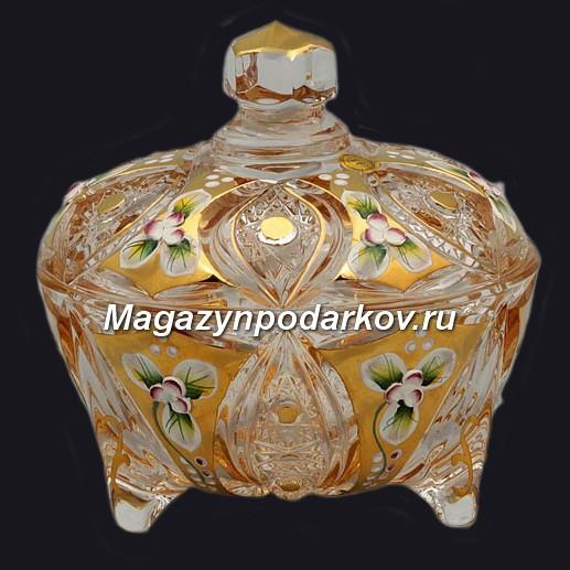 Конфетница с крышкой Bohemia Яхами, золото, 12 см