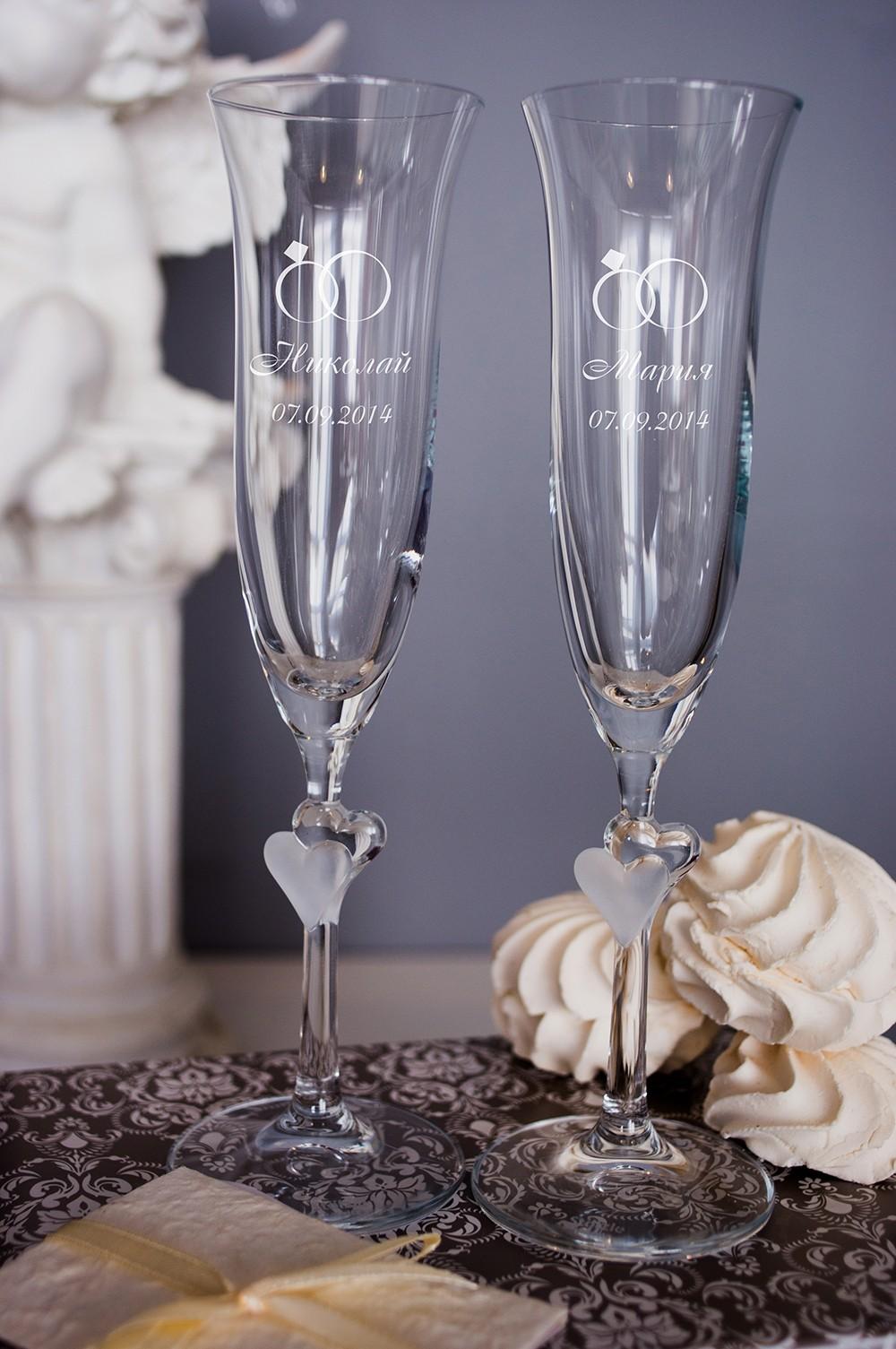 Набор свадебных бокалов с вашим текстом Кольца