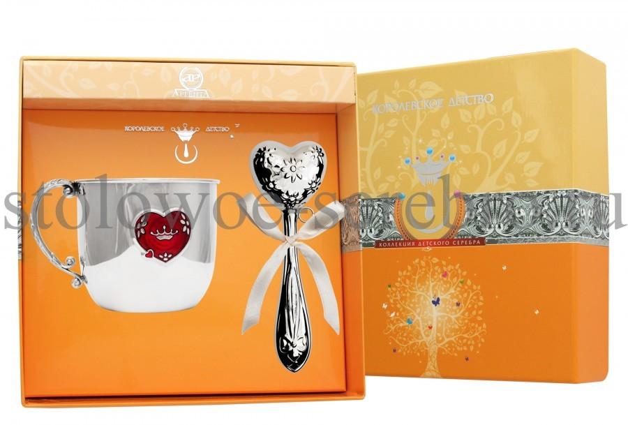 Серебряный столовый набор Сердечко №177