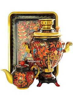 Набор: эл. самовар, поднос, чайник с художественной росписью Птица, рябина на черном фоне