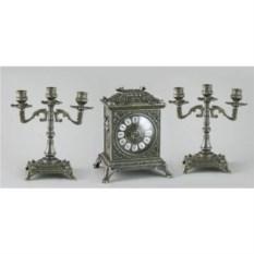 Латунные каминные часы и 2 канделябра