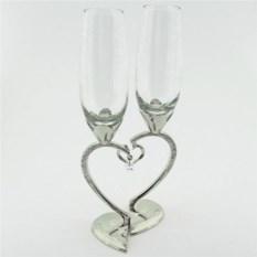 Свадебные бокалы на ножке в виде сердца, серебро